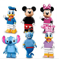 Wholesale 6pcs set Collector s edition Minifigures Mickey Minnie Donald Duck Daisy Stitch Genie Building Block Bricks Kids Toys Gift