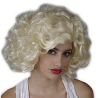 Wholesale WigShow Adjustable Marilyn Monroe Sexy Fashion Cosplay Wigs Costume Party Wavy Blonde Wig free Wig Cap