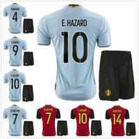 Wholesale 2016 Belgium Soccer jersey kits Best quality EDEN HAZARD DE BRUYNE KOMPANY VERTONGHEN VERMARLEN LUKAKU football shirt