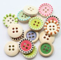 Wholesale DIY Multi color Wooden Buttons Mixed Wooden Buttons in Bulk Buttons for Paintings Bedding Clothing Cushion Tablemate Pastoral Wooden Buttons