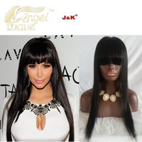 Wholesale Angelwave hair A Glueless Full Lace Wigs With Bangs Straight Full Lace Human Hair Wigs For Black Women Natural Color Inch