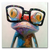 Wholesale 100 Hand painted Huge Oil Painting Happy Frog Modern Wall Art on Canvas
