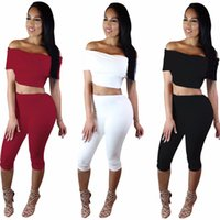 Wholesale 2016 woman suit White dew shoulder sexy short sleeved summer two piece outfit Suit Women s clothing hot style dress