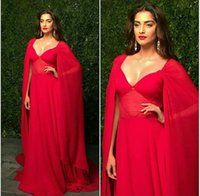 Cheap Illusion Cutaway Sides Celebrity Dresses with Cloak 2016 Sonam Kapoor V-Neck A-Line Chiffon Floor-Length Red Carpet Evening Gowns