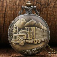 Wholesale Antique Big Size Big Truck Pocket Watch Retro Bronze Watches Gift Men Women Necklace