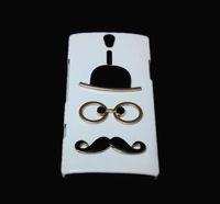 al por mayor cubiertas xperia lt26i-Caso 3D divertida linda protector para Sony Xperia S LT26i, moda Chaplin atractivo caballero del sombrero de los vidrios de la barba del bigote Diseñado duro de la contraportada