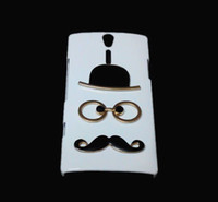 achat en gros de couvertures xperia lt26i-Housse de protection 3D drôle mignon pour Sony Xperia S LT26i, Fashion Chaplin Gentleman Sexy Chapeau Lunettes Barbe Moustache Conçu Retour Hard Cover
