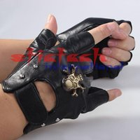 Wholesale by dhl or ems Mens Motorcycle Sheepskin Leather Fingerless Half Gloves w Skull Black