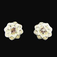 amber studs - 2016 Blooming Dahlia Cream Enamel Blush Pink Crystals Sterling Silver Earring Fit Pandora Fashion Jewelry DIY European Style