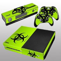al por mayor controlador de xbox kinect-Para consola Xbox One Kinect 2 libre controlador cubre nueva piel de vinilo verde fresco etiqueta-Biohazard