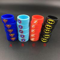 america beauty - 2016 Superman Batman Captain America Flash Silicone Vape Band Engraved Logo Silicon Beauty Decorative Ring for Glass Tanks Rba Rda Vapor Mod