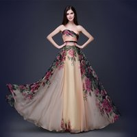 adult baby art - Western style grace BABY PINK strapless dress Chiffon Flora Printed Art Rose floor length Toast Evening Clothing Gown Handmade