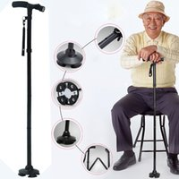 Wholesale DHL free Waking LED cane for Old gentleman or lady with LED light and Carry Bag foldable light to carry Aluminum alloy