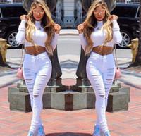 Wholesale New Designer Denim mulheres de cintura alta Jeans rasgado para as mulheres Skinny Black White Jeans mulher elástico fino Jean feminino