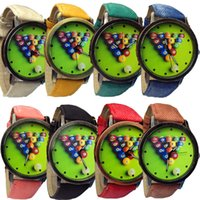 antique billiards - New Fashion Personality Billiards Dial Watch Fabric Band Quartz Analog Watch For Women Men Casual Style vine Watch F028