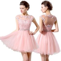 Wholesale Junior th Grade Party Dresses Cute Pink Short Prom Dresses Cheap A Line Mini Tulle Lace Beads Cap Sleeves Bateau Homecoming Dress