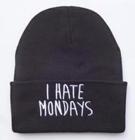 EPO negra de los hombres odio lunes Letters Beanie sombrero hecho punto del estiramiento de la cadera del salto ocasional del casquillo del algodón gorritas invierno cráneo gorras HFMY