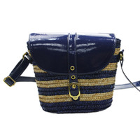 Wholesale Womens Summer Beach Blue Navy Straw Striped PU Leather Strap Crossbody Shoulder Bag Purse Coin Case