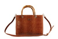 Wholesale Dowen Women s Brown Genuine Leather Handbag with Top Bamboo Handle Made in China