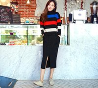 Wholesale 2016 New Ladies Fashion Color Knit Long Bag Hip Skirt Slit Slim Sexy Temperament Knitted Skirt