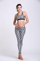 argyle mix - Yoga Sets Sexy Women Yoga Clothes D Printing Black with white Argyle Yoga Leggings Breathable Workout Sportswear