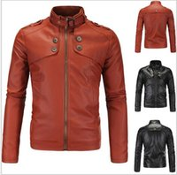 Wholesale Leather Jacket Mens Button Brown - 4XL Plus Size Premium Mens Motorcycle Jacket Short Coat Slim Top Designed Sexy PU Leather Coat Fit Washed Jackets J160811