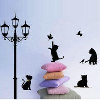 animal lamps for sale - Removable Wall Stickers Decal Art Vinyl Mural Decal Decor Lovely Cats Street Lamp lighs Pattern Home Accessories on Sale