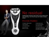 Wholesale UK warehouse Drop shipping Povos PQ8602 LCD Men s washable Rechargeable Shaver Rotary recharge Quick Electric Razor