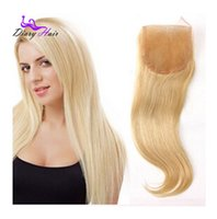 Wholesale 2016 Peruvian lremy hair straight lace closure A real human hair closure light blonde middle free part density