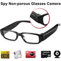 Wholesale Full HD P Spy Glasses DVR Non porous Camera Audio Recording Sunglasses Invisible Hidden Pinhole Security Camera Without Aperture
