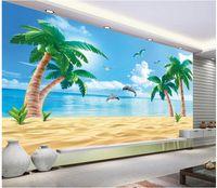 beach wallpaper hd - 3d wallpaper custom photo non woven mural Hd beach coconut trees background d wall murals wallpaper for living room decoration painting