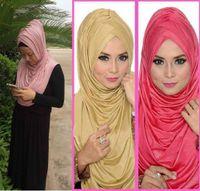 Wholesale pieces One peice Plain Big Size Amira Style Pull On Jersey Scarf Hijab Women Wrinkle Stertch Muslim Islamic Shawl JLS105