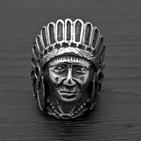 apache indians - Tibetan Silver Fashion Tribe Men Apache Indian Chief Head Ring Punk Figure Jewelry