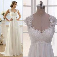 vestido de novia - 2016 Modest Ivory Beach Wedding Dresses Real Photos Cheap Lace Sweetheart Capped Sleeves Open Back Vestido De Novia Chiffon Bridal Gowns