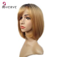 Wholesale Blonde Short Wig Women s Cute Fringe Straight Bob Cosplay Wig Heat Resistant Hair Blonde cheap Short Wigs ombre synthetic wigs