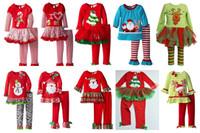 Wholesale 10 desgin Girls Christmas Pajamas Suit Santa Claus Long Sleeve Spring Winter Pajamas Suits for T Girls Christmas outfits for girls