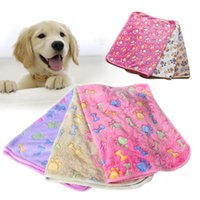 Rectangle animal fleece throws - 4 Colors Warm Winter Paw Bone Print Dog Blanket Soft Coral Fleece Pet Mat