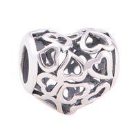 Wholesale Charms heart authentic S925 sterling silver fits for pandora style charms bracelets dancing shoes LW597T022AH6