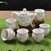 porcelain teapot white - Set double layer ceramic tea set blue and white porcelain flower tea double layer cup ceramic teapot tea set