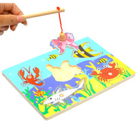 Wholesale Kids Fishing Game Wooden Ocean Jigsaw Puzzle Board Combo Magnetic Rod Toys A00063 CAD