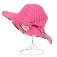 adult spring crafts - 2016 New Arrivals Beach Bowknot Wide Brim Hats Women String Stram Hats Girls Sun Hats Craft Foldable Sunscreen Hats High Quality