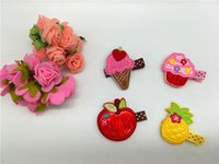 apple hair clips - 4pcs set Fashion Embroidery Icecream Cup Cake Apple Pineapple Barrettes Cute Cartoon Babies Felt Hair Clips Baby Girls Hair Accessories