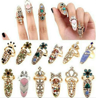 art channel - New Colorful Crown Crystal Finger Nail Art Ring Nail Finger Knuckle Rings Tail Ring Butterfly Knot Crown Protect Nail Alloy Accessory
