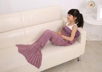 Wholesale Kids Knitted Mermaid Blankets Handmade Mermaid Tail Blankets Mermaid Tail Sleeping Bag Knit Sofa Nap Blankets Costume Cocoon piece