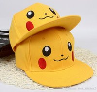 adult animation cartoons - 2016 POKE hat most popular baseball cap Japanese Famous Animation Cartoon Comic Cute Lovely Pocket Monster Pikachu Flat Snapback Cap