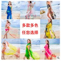 Wholesale New summer beach towel Sarongs women sunscreen cm shawl anti silk scarf shawl female oversized scarves Wraps DHL colors