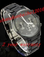 accent stainless steel - Hot Selling New Men s watch AR5889 Sport Chronograph Silicone Accent Black Dial Watch with Two years warranty