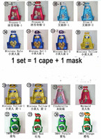 Wholesale Double Side Cartoon Cosplay cape and mask cm Despicable Me Mermaid TMNT anna elsa Frozen cape halloween party costumes capes mask