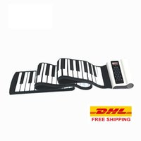 Wholesale DHL Keys Roll Up Piano with Sustain Pedal Flexible Silicone Midi Hand Roll Electronic Keyboard