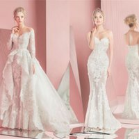 Wholesale 2016 New Zuhair Murad Mermaid Lace Wedding Dresses Long Sleeves Detachable Overskirts Sweetheart Applique Bridal Gowns Custom Made